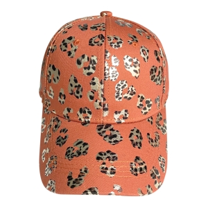 FH064 Leopard Glitter Baseball Cap, Orange